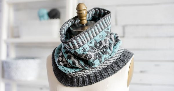 Cowl neck knit scarf with fair isle type pattern