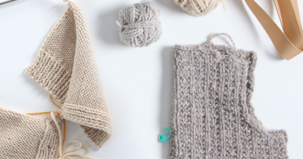 Grey and tan knitting projects