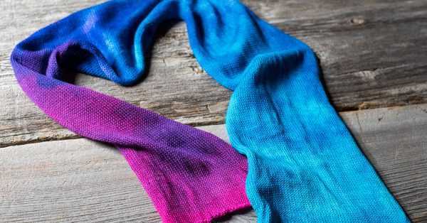 Pink and blue dyed yarn scarf
