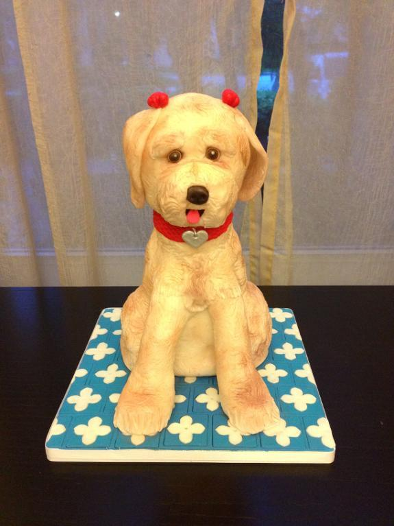 Cake Sculpted as Dog