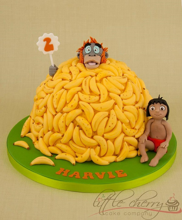 Jungle Book Cake with a Pile of Bananas