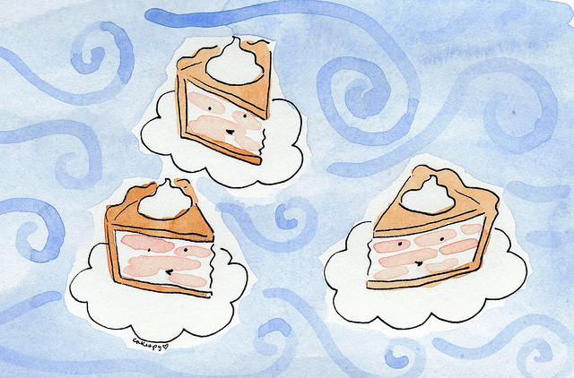 High Altitude Baking: Cartoon of Pies in Clouds