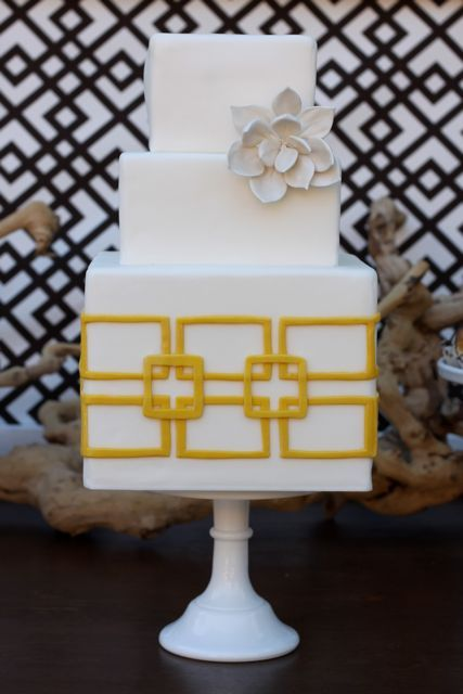 Square White Wedding Cake with White Succulent