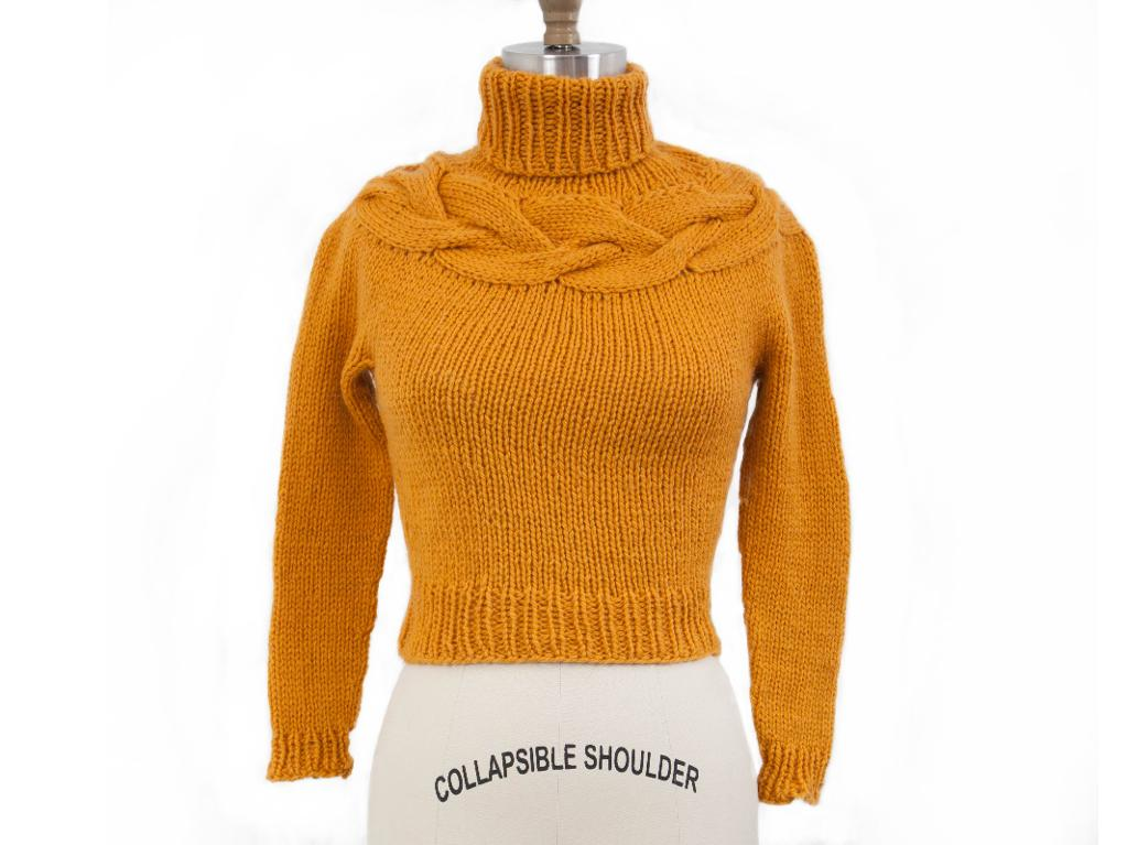 Knit cable yoke pullover