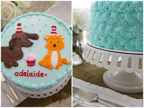 Cake Decorated with Buttercream Dogs