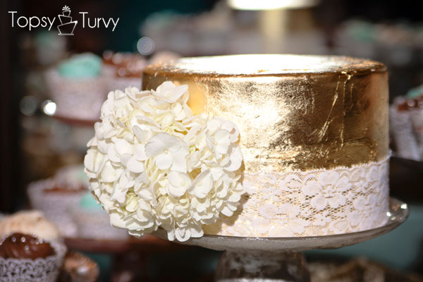 Gold Gilded Cake with Large White Flower