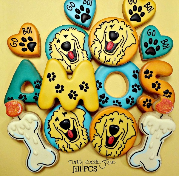 Decorated Amos the Dog Cookies