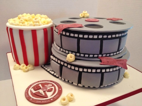 Sculpted Film Reel and Popcorn Cake