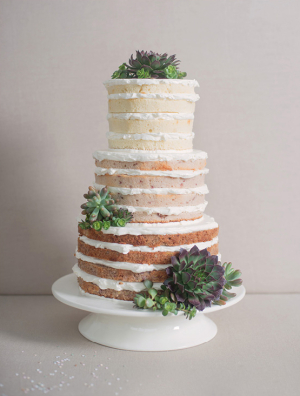 Naked Wedding Cake with Succulents