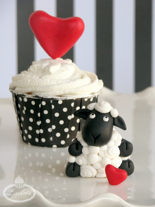 Completed Valentine's Cupcake and Ewe -