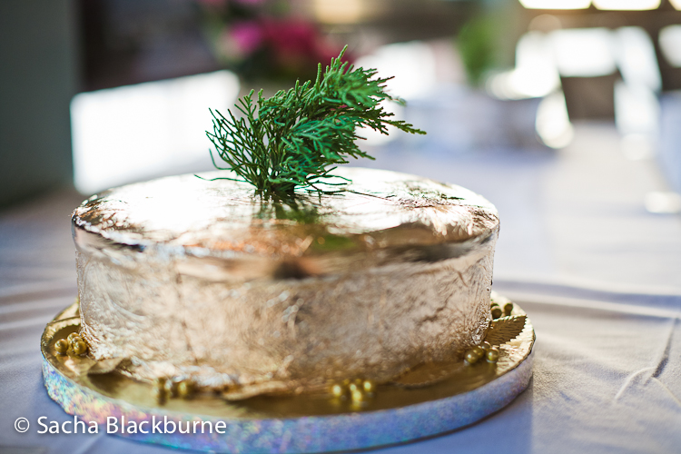 Small Golden Cake Topped with Sprig