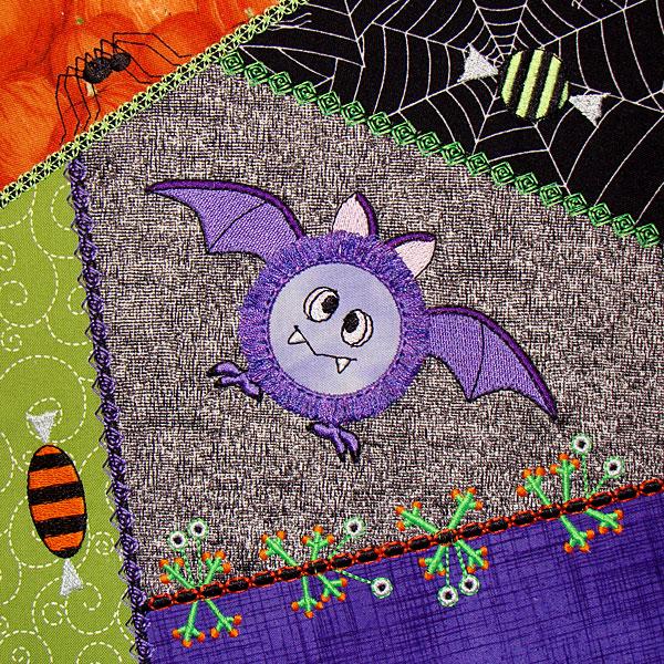 Bat Design - Machine Embroidered Quilt Block