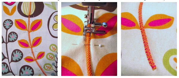 Adding Cording to Sewing Project