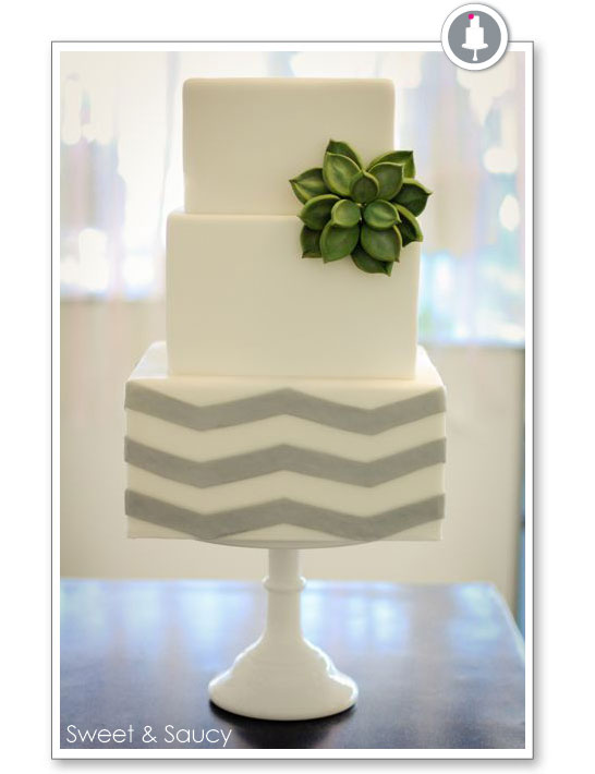 White Square Wedding Cook with Succulent