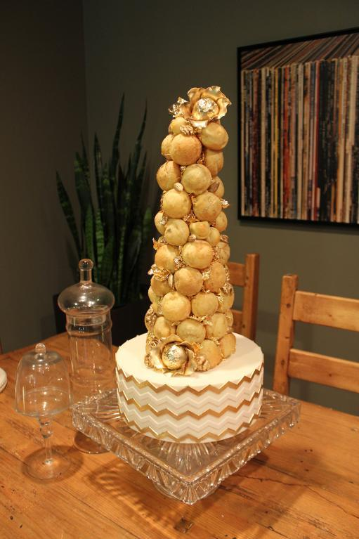 croquembouche cake with gold leaf