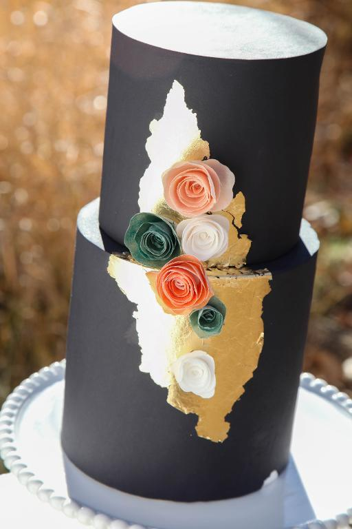 Black Cake with Gold Leaf and Roses