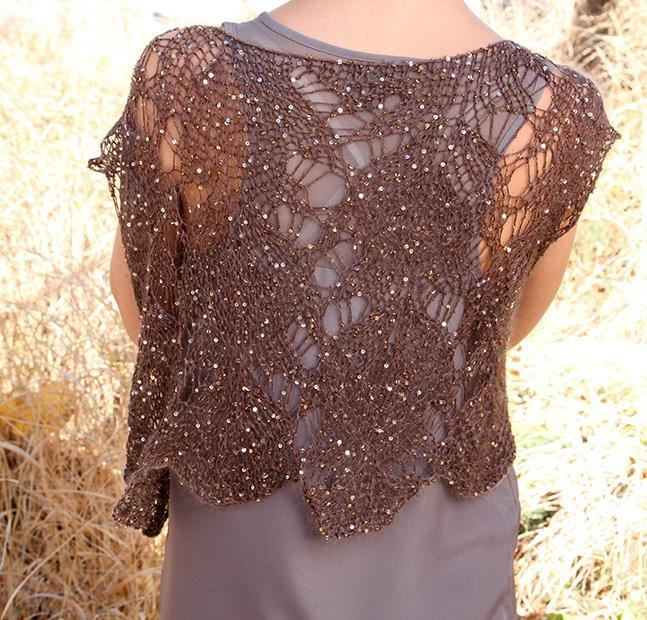 Sequined knit mohair lace vest
