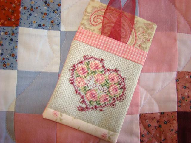"Embroidered ""Love"" Towel - Bluprint Pattern"