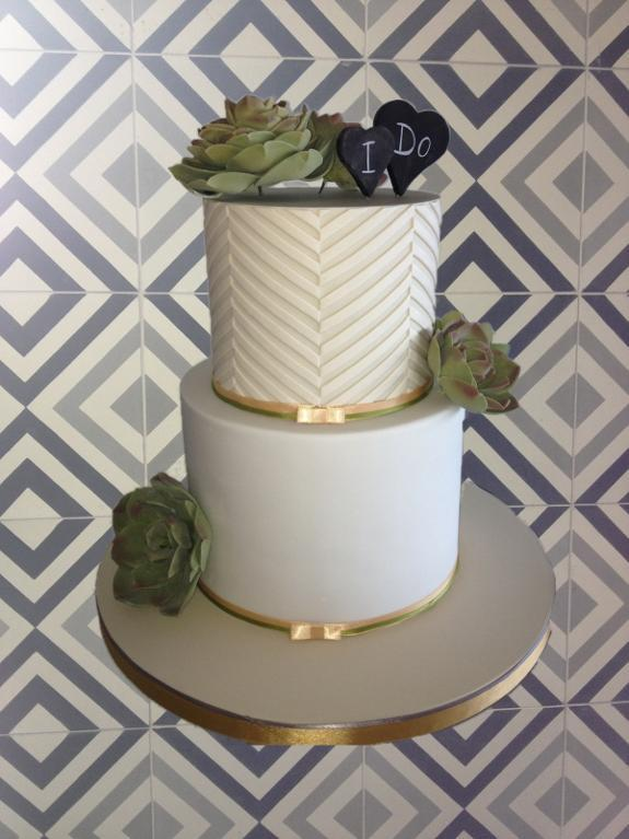 Wedding Cake Featuring Succulent Sugar Flowers