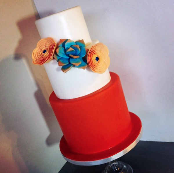 Tiered Cake, Red Base, Orange Flowers