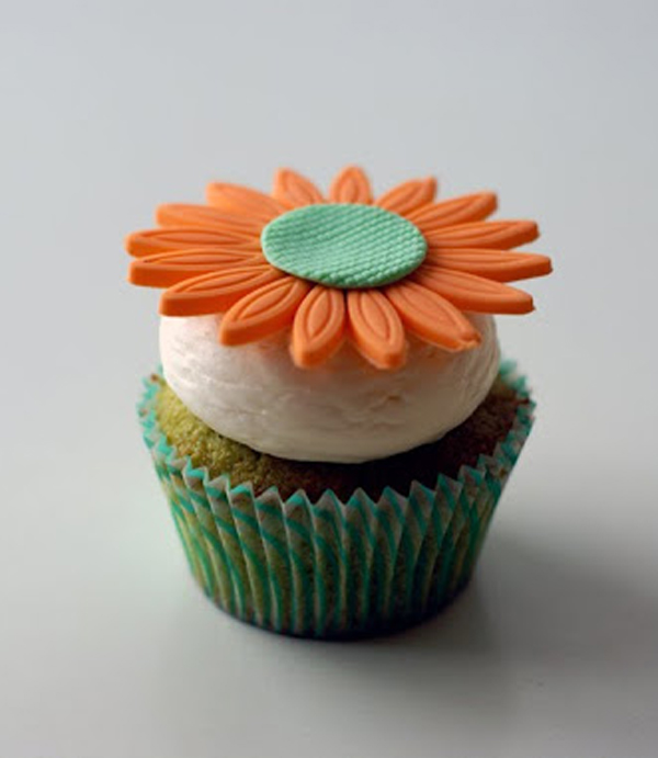Cupcake Topped with Orange Flower