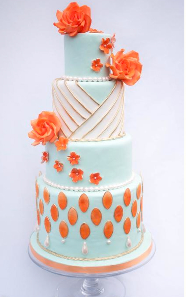 Bluprint Cake - Tiered Cake with Orange Flowers