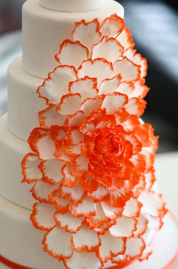 Cascading Orange Peony Cake
