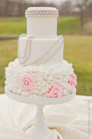 Tiered Cake, Frilled Floral Bottom and String of Pearls