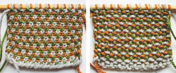 Three-color linen stitch