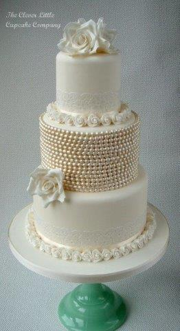 Tiered Cake with White Pearl Decoration