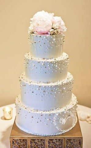 Tiered White Cake, Colorful Pearls & Flowers