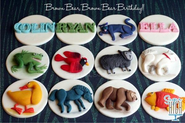 Brown Bear Storybook Fondant Cupcake Toppers