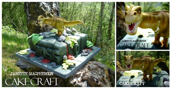 Sculpted TRex Cake, on Bluprint via Cake Craft