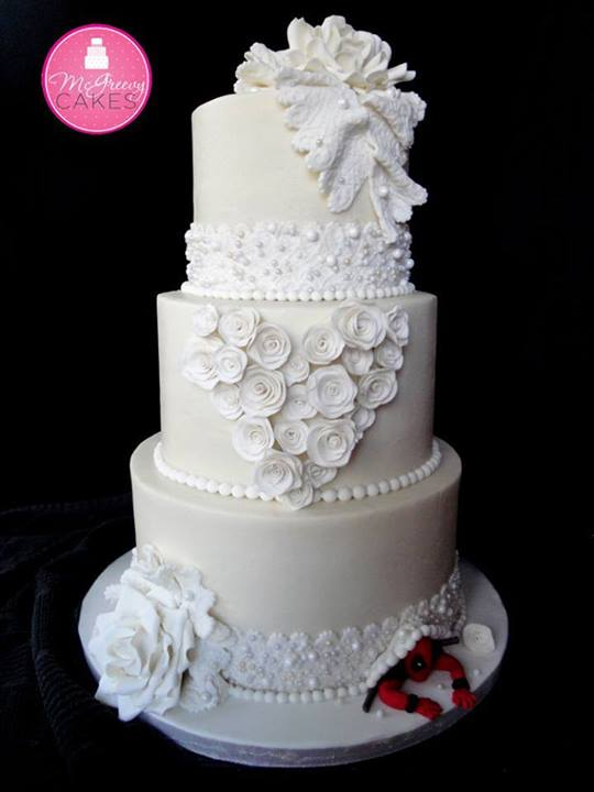 Three-Tiered Whimsical Heart Cake