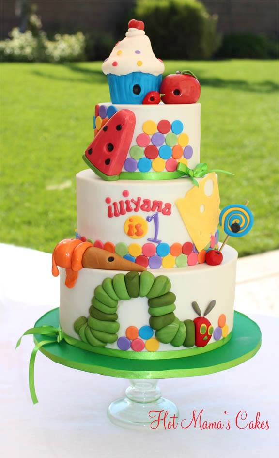 Three Tiered Very Hungry Caterpillar Cake in Bright, Cheerful Colors