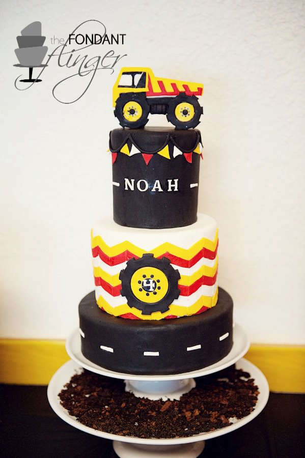 Tiered Chevron Construction Themed Cake