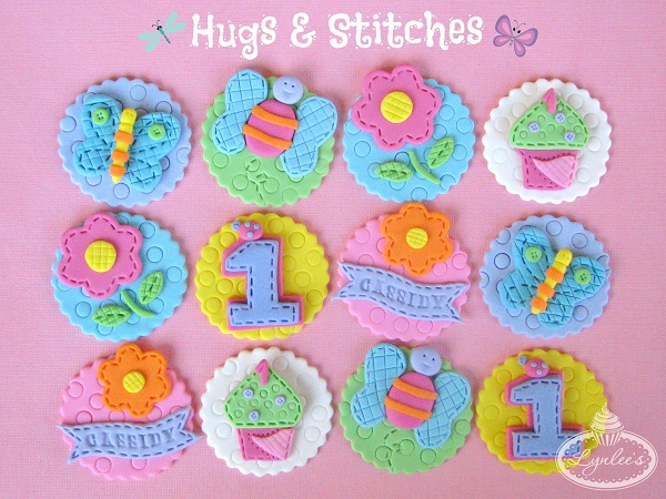 Butterfly and Flower Cupcake Toppers for a 1st Birthday Party