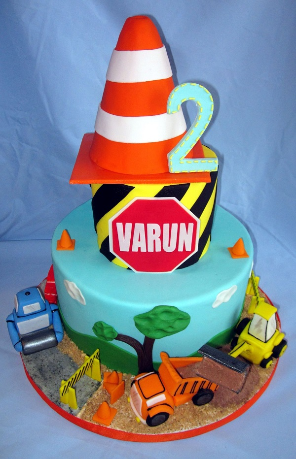 Three-Tiered Construction Themed Birhtday Cake