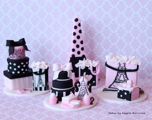 Intricately Molded Parisian Themed Cupcake Toppers