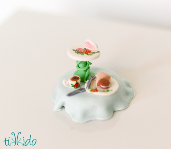 Gum Paste Tea Party Themed Cupcake Topper
