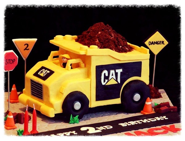 Sculpted Construction Truck Cake