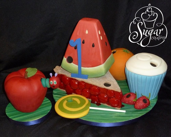 Hungry Caterpillar Cake With Sculpted Fruits