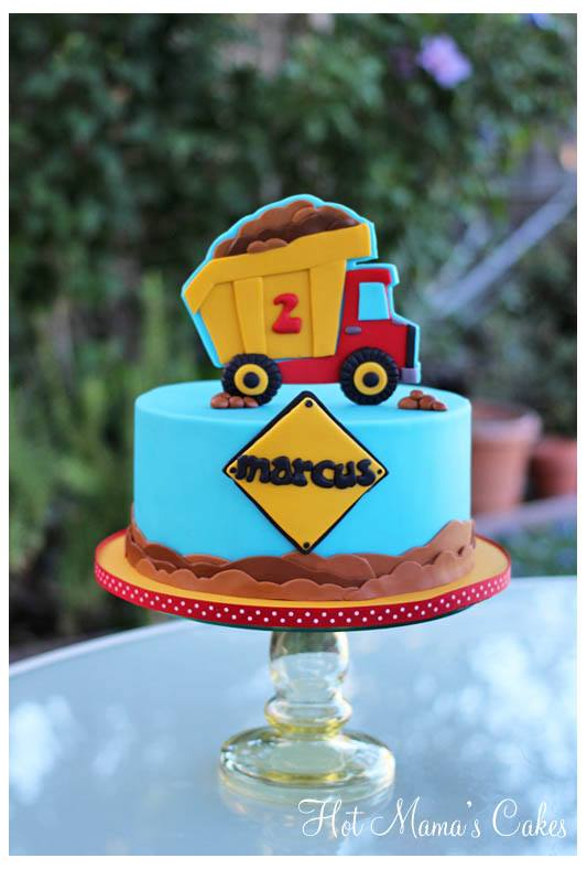 Single Tier Birthday Construction Themed Birthday Cake