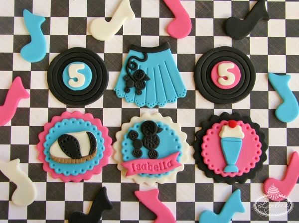 Fondant Cupcake Toppers with a 1950s Diner Theme