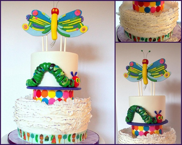 Fondant Frilled Cake With Hungry Caterpillar Theme