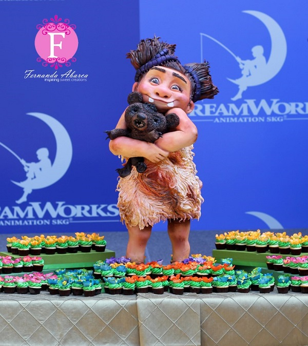 Carved Cake: Prehistoric Child Hugging Creature