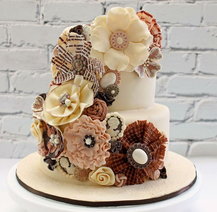 Cake with Beautiful Modeling Chocolate Flowers