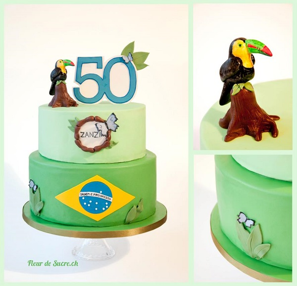 Tiered Birthday Cake Topped with Parrot