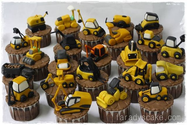Cupcakes Topped with Mini Construction Vehicles