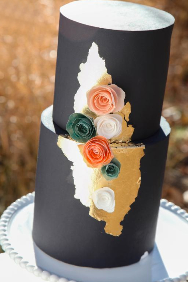 Tiered Black Cake with Wafer Paper Flower